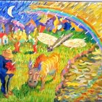 bonde och regnbåg